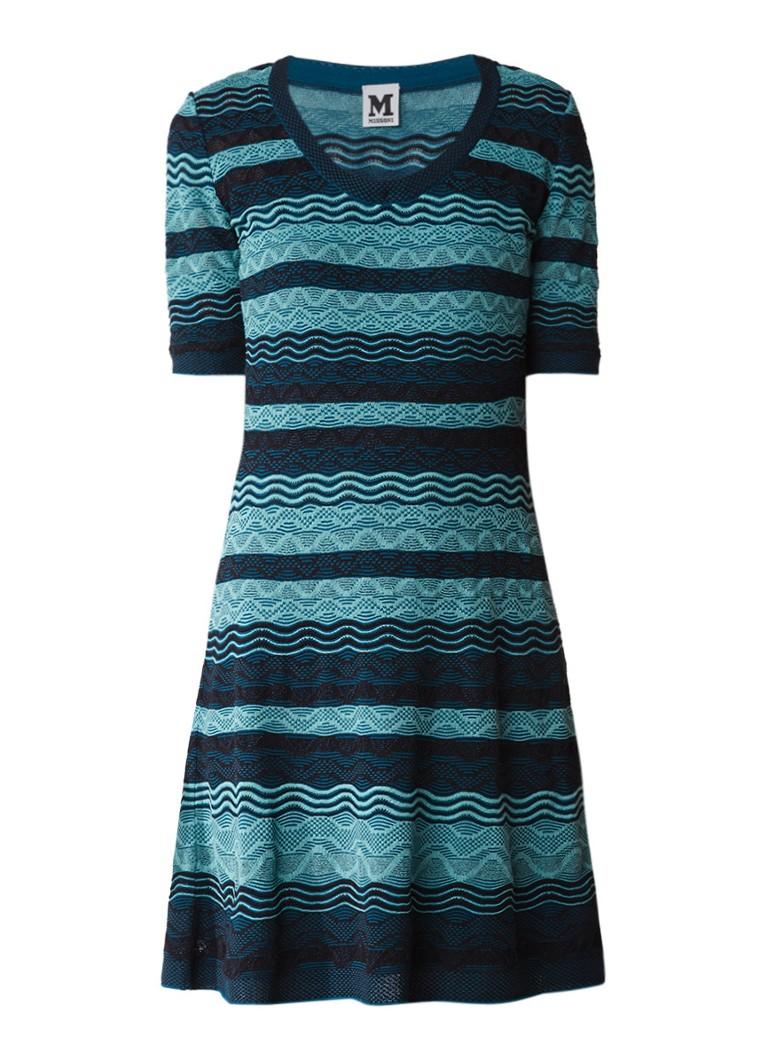 M Missoni Fijngebreide A-lijn jurk met dessin groen