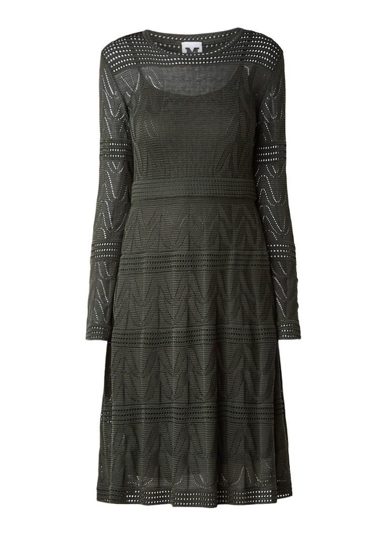 M Missoni Midi-jurk met opengewerkt dessin donkergroen