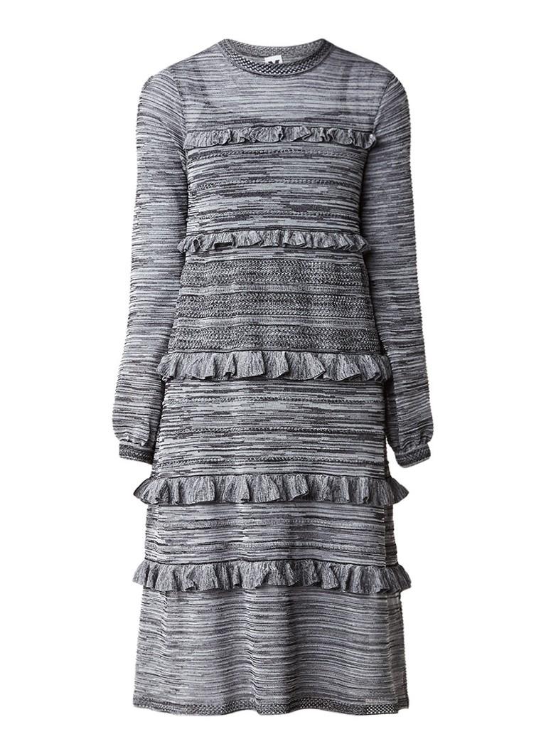 M Missoni Fijngebreide jurk met ruches donkergrijs