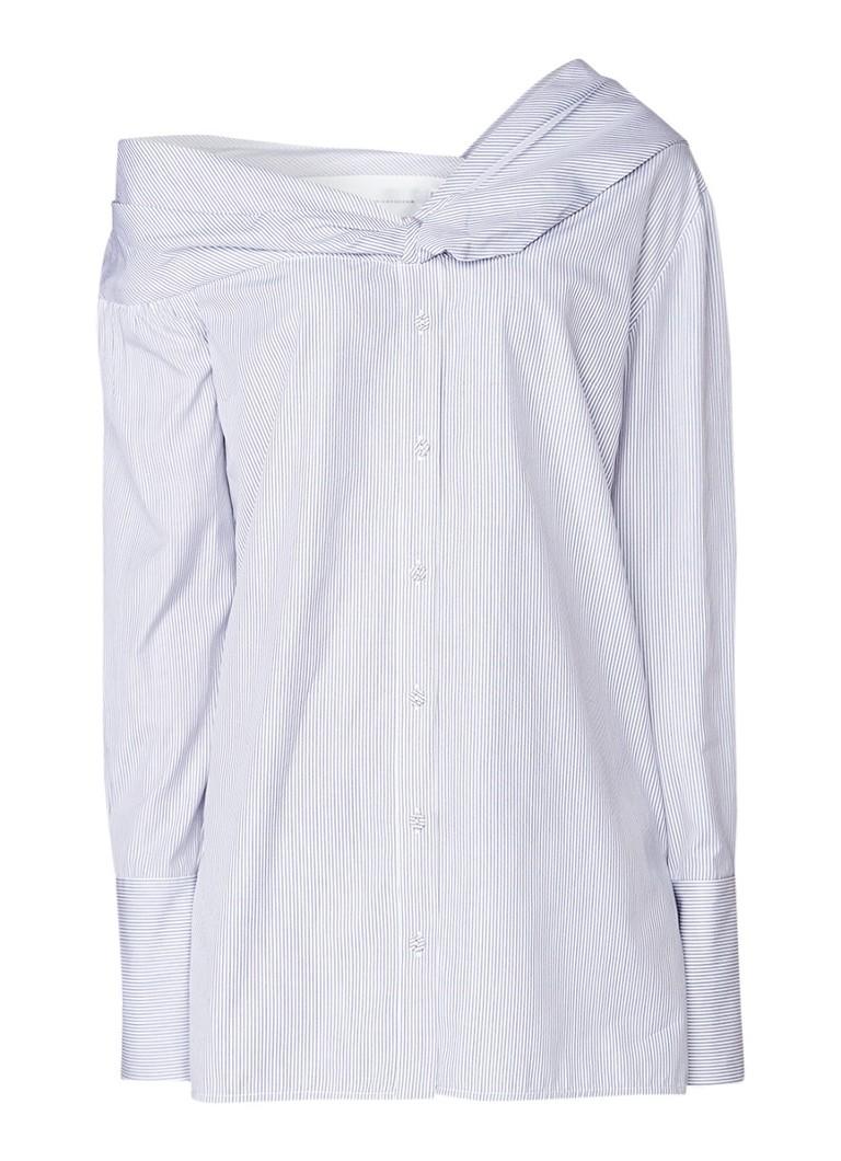 Victoria Victoria Beckham One shoulder blouse met streepdessin