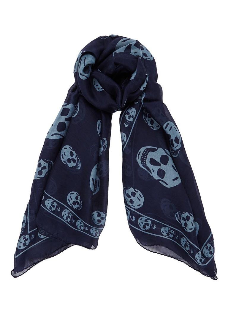 Alexander McQueen Sjaal van zijde met skulls 120 x 105 cm