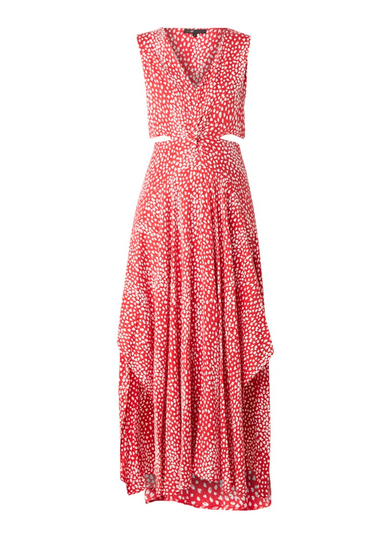 Maje Renilla maxi-jurk met stippendessin en cut-out rood