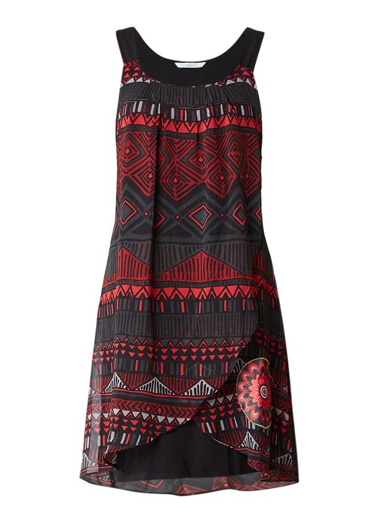 Desigual Lorna jurk met overlay met grafisch dessin