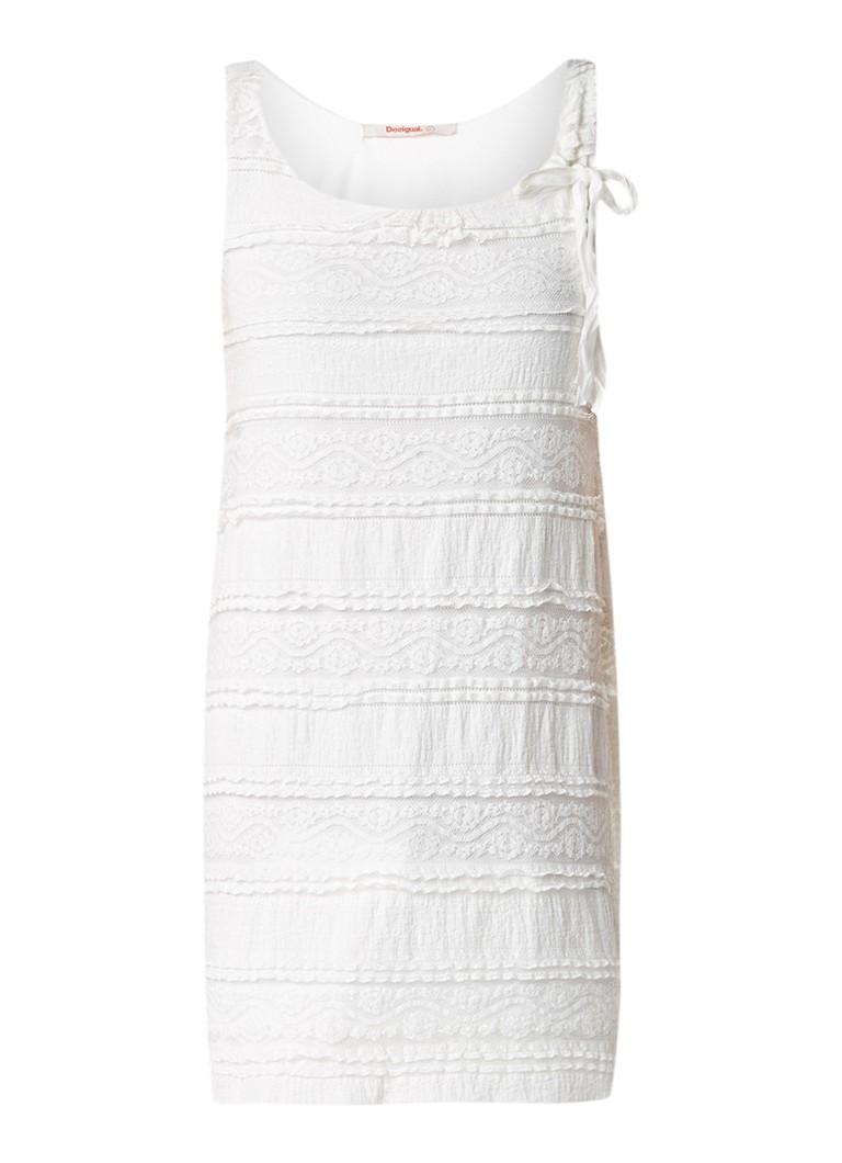 Desigual Mayo mouwloze jurk van kant met strikdetail gebroken wit