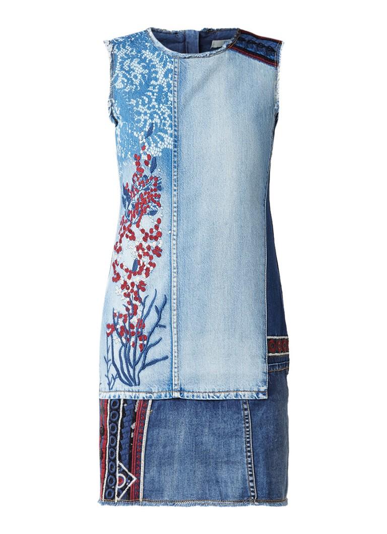 Desigual Caden denim jurk met geborduurde details indigo