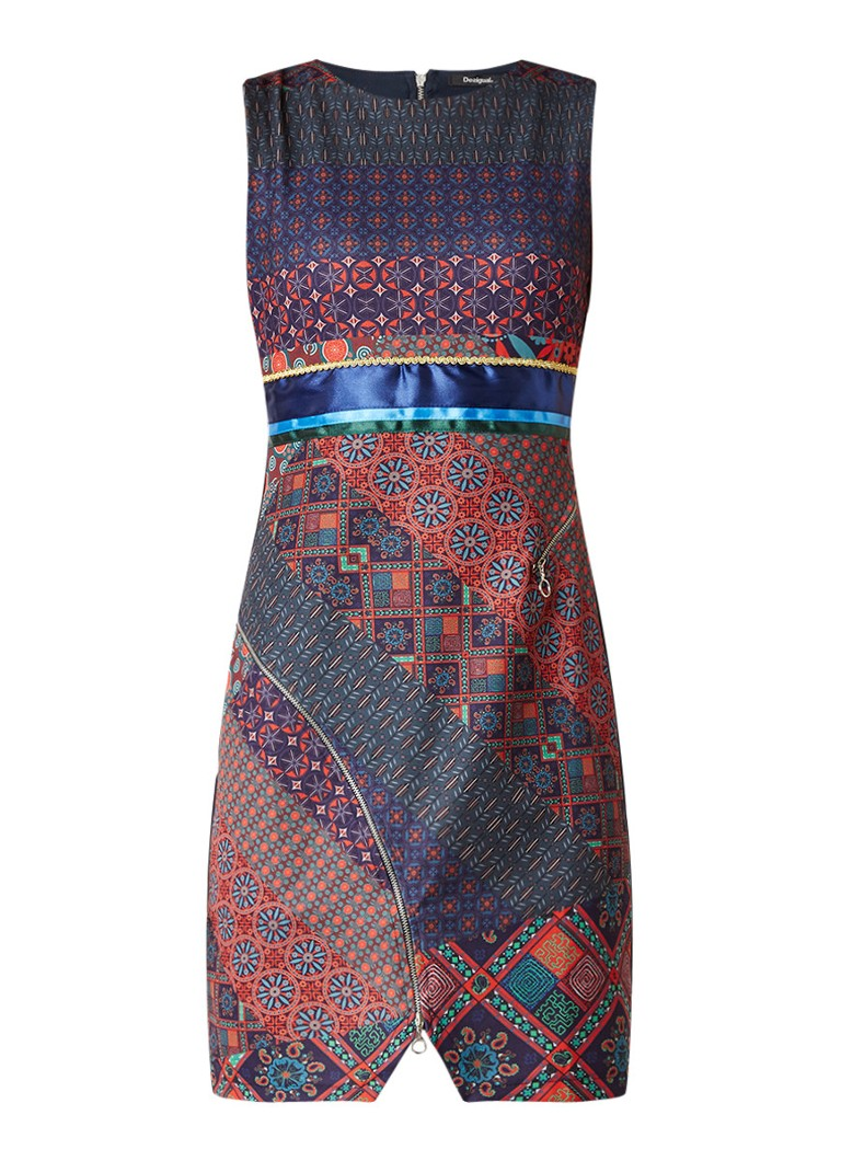 Desigual Trueno jurk van jersey met grafische print en ritsen donkerblauw
