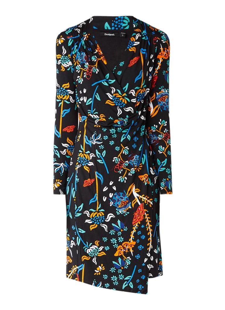 Desigual Birdie midi-jurk met overslag en dessin zwart