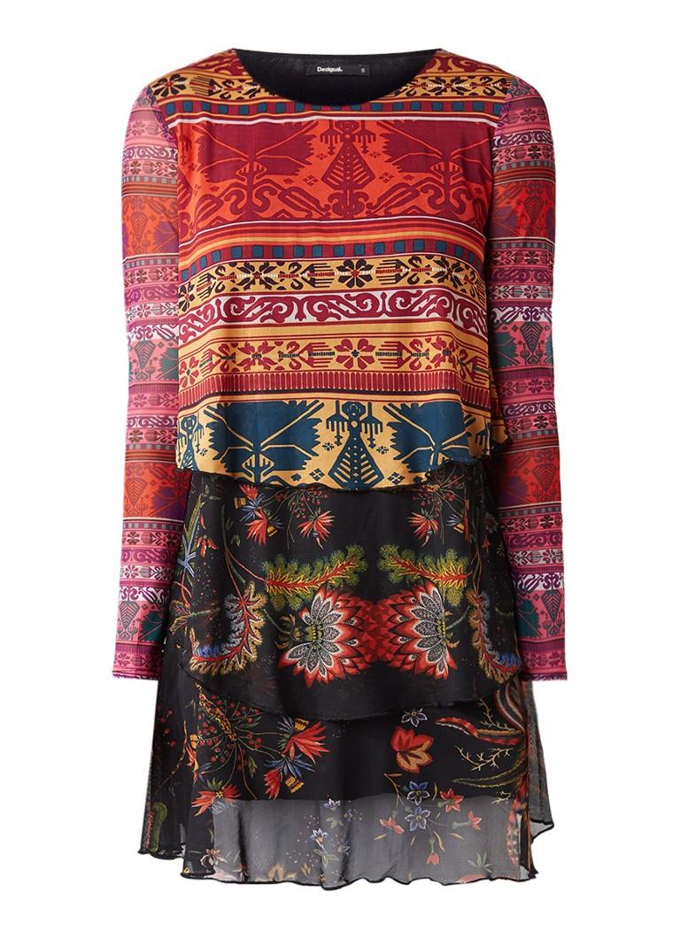 Desigual Carol midi jurk met mesh en geprint dessin rood