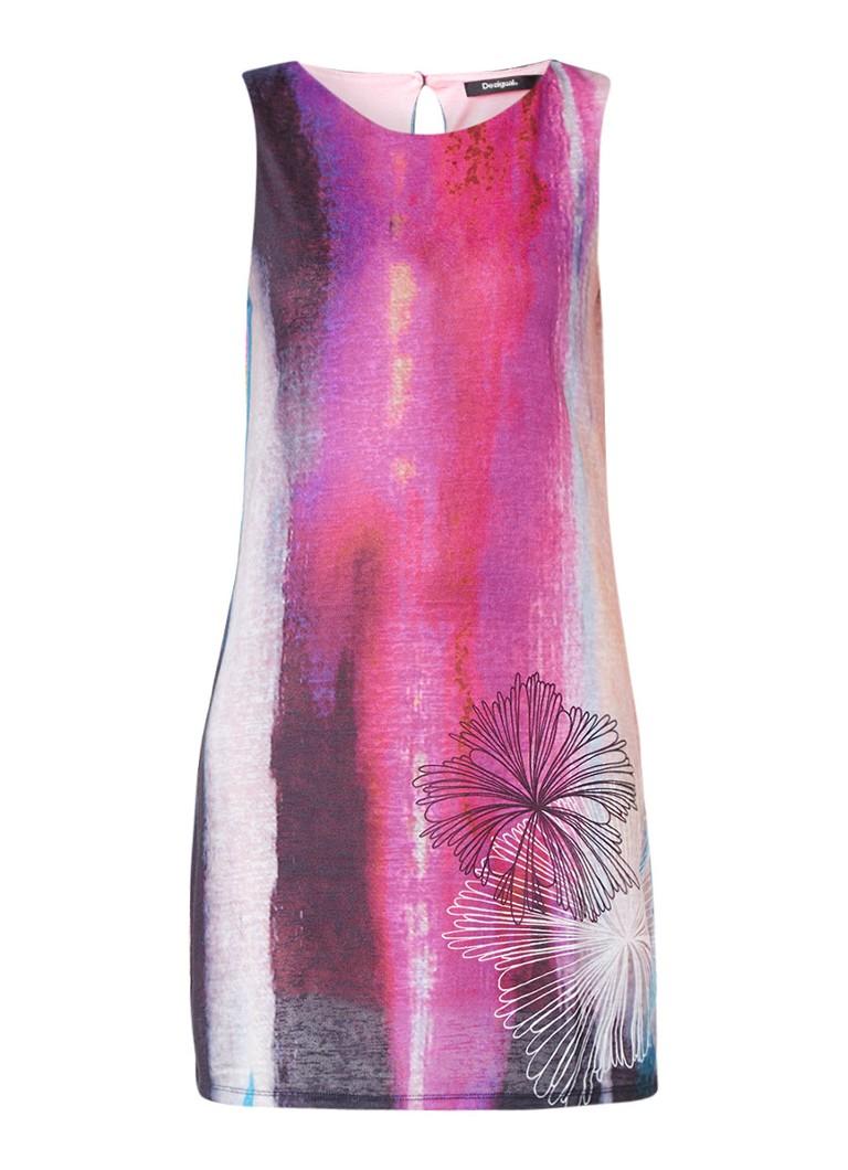 Desigual Elodie fijngebreide jurk met dessin paars