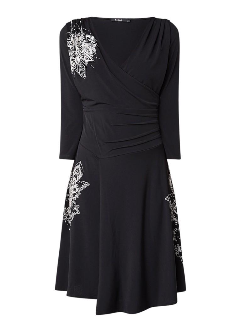 Desigual Alison A-lijn jurk met overslag en print zwart