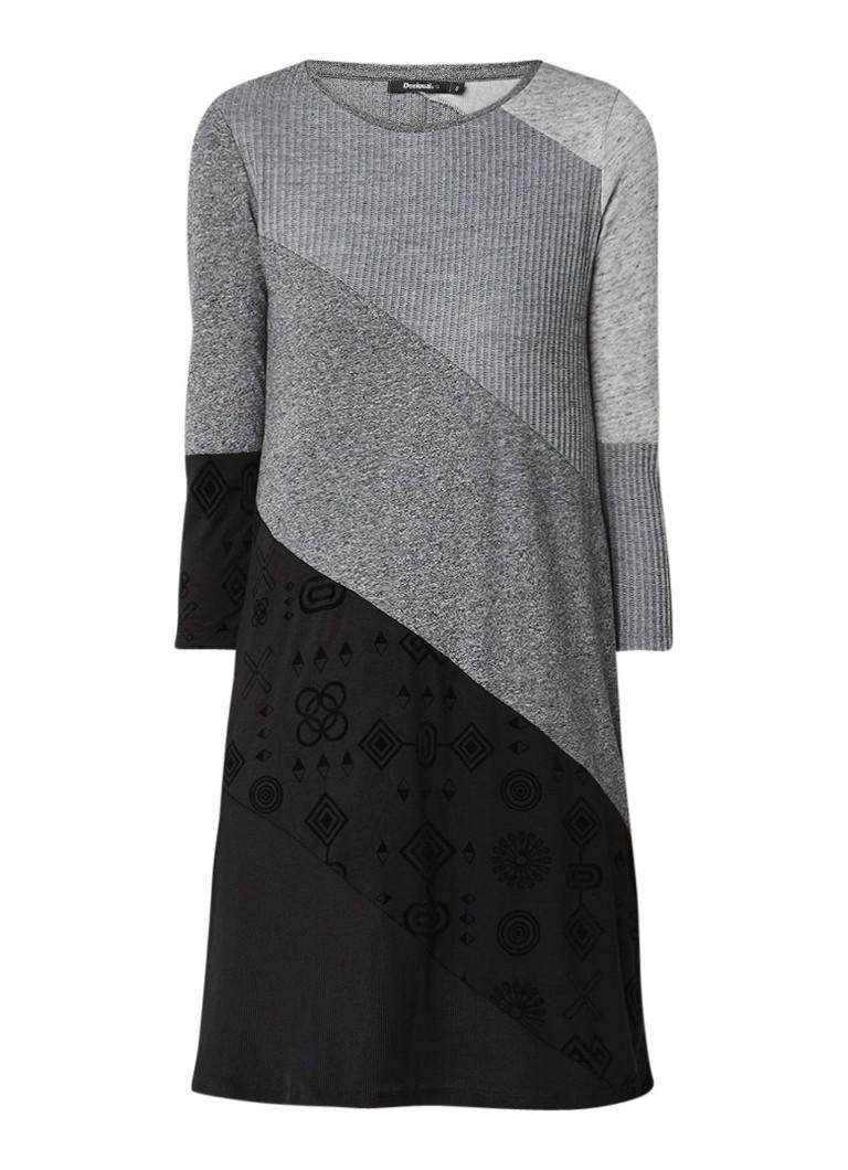 Desigual Amber gemêleerde jurk met flockprint grijsmele