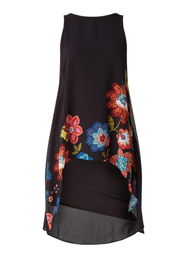 Desigual Picos Caribou jurk met overlay en bloemdessin zwart