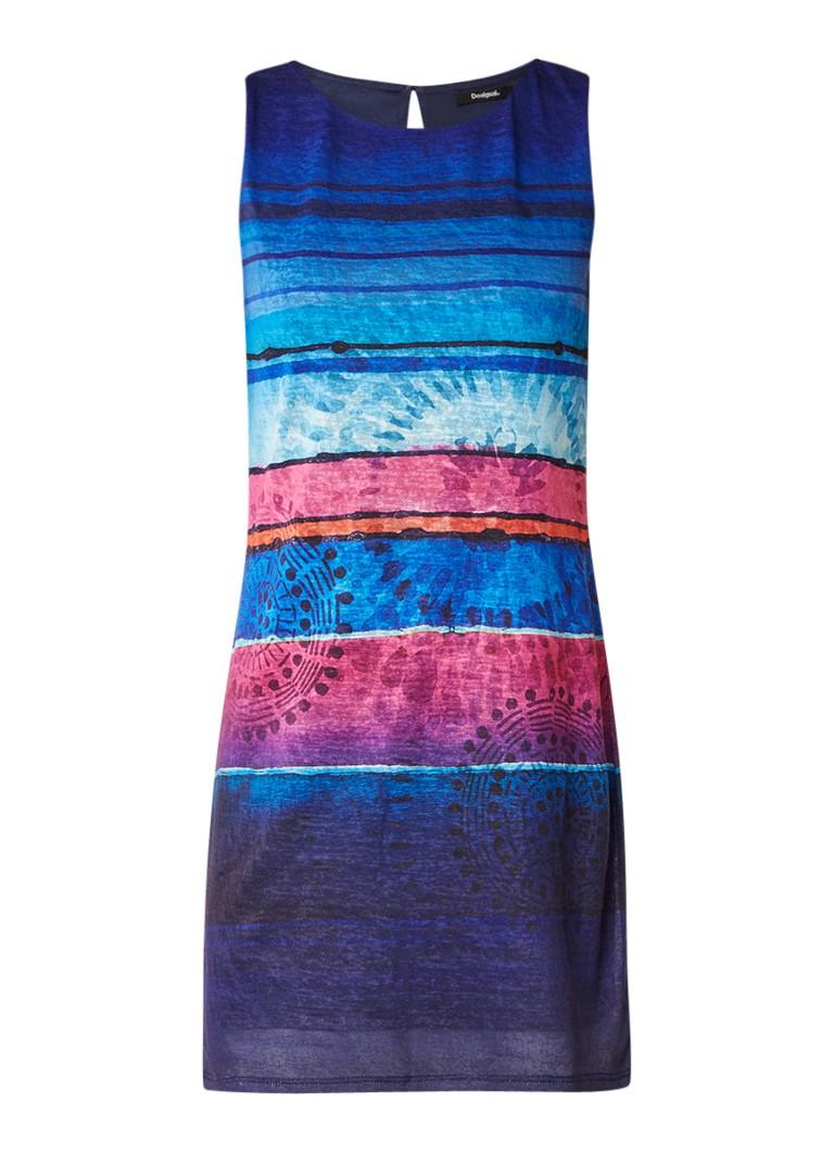 Desigual Adana mouwloze minijurk met streepdessin blauw