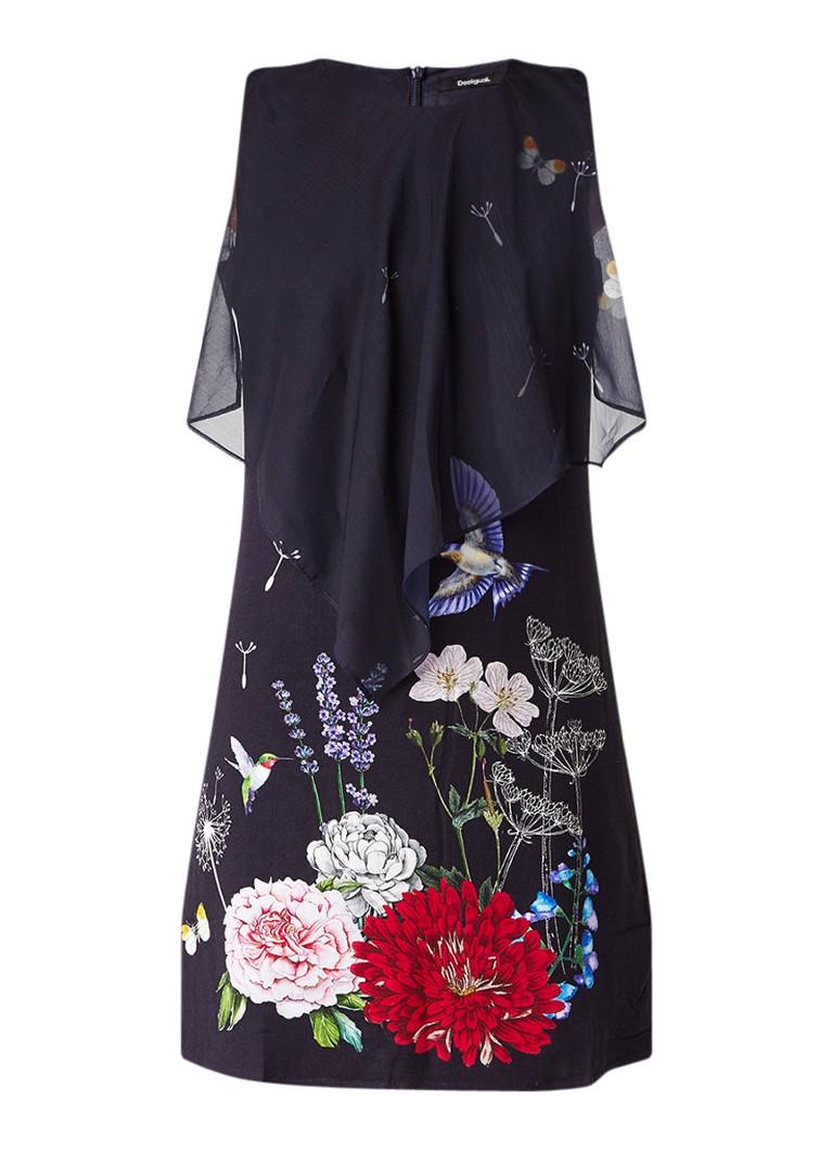 Desigual Evita jurk met overlay en bloemdessin donkerblauw
