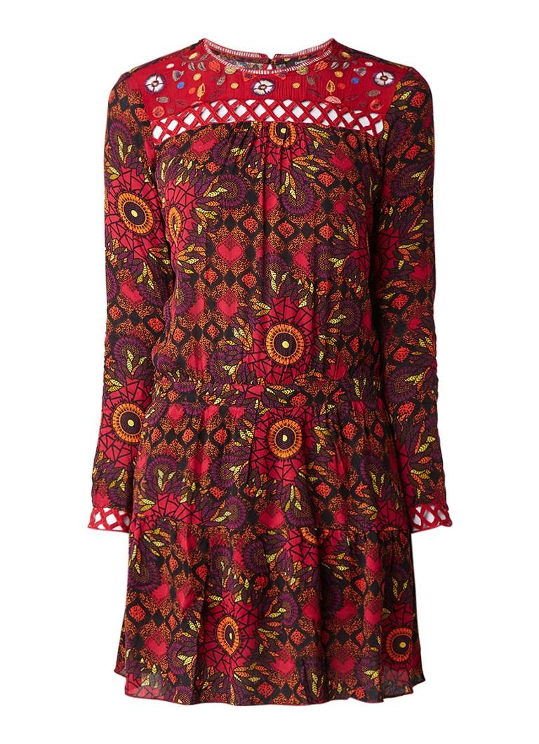 Desigual A-lijn jurk met dessin en broderie bordeauxrood