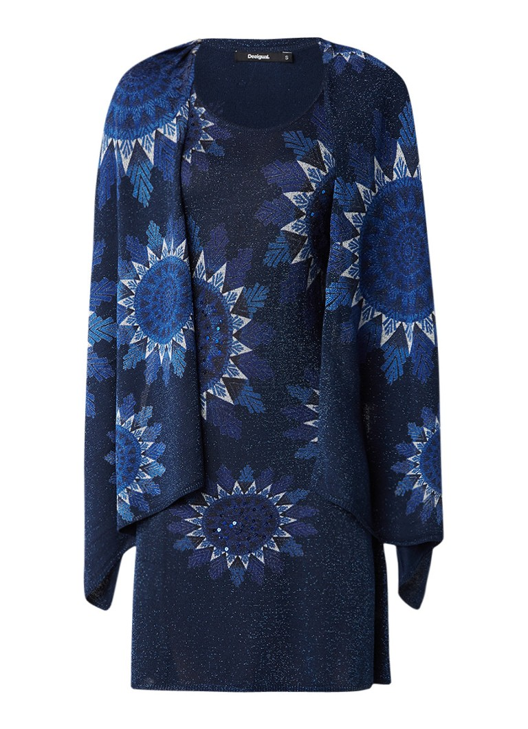 Desigual Helen jurk met afneembare sjaal donkerblauw