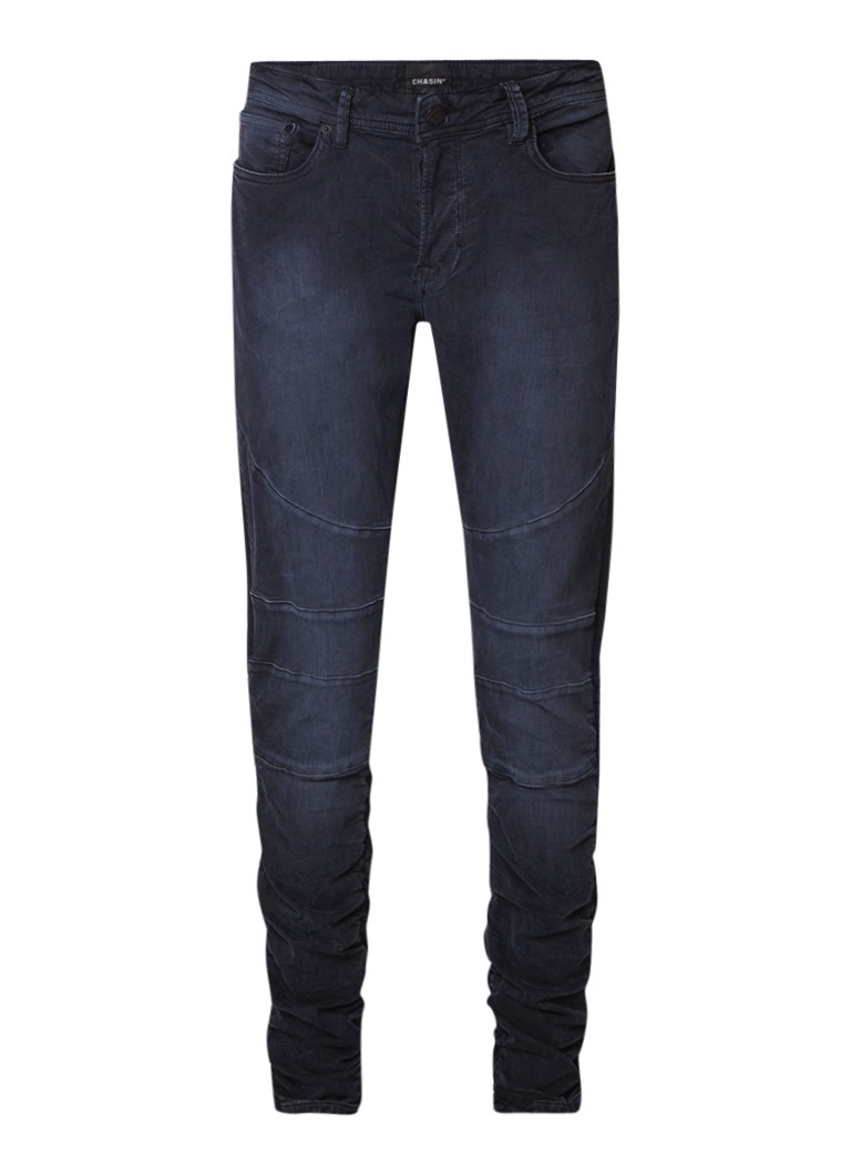 Chasin Lamar slim fit jeans met biker look