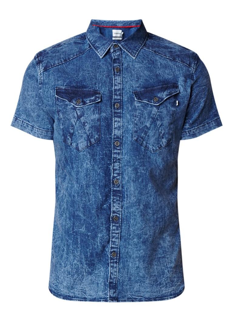 Chasin Enid slim fit denim overhemd met acid wash en korte mouw