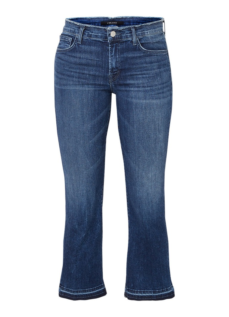 J Brand Selena mid-rise cropped jeans met destroyed details in Star Blue