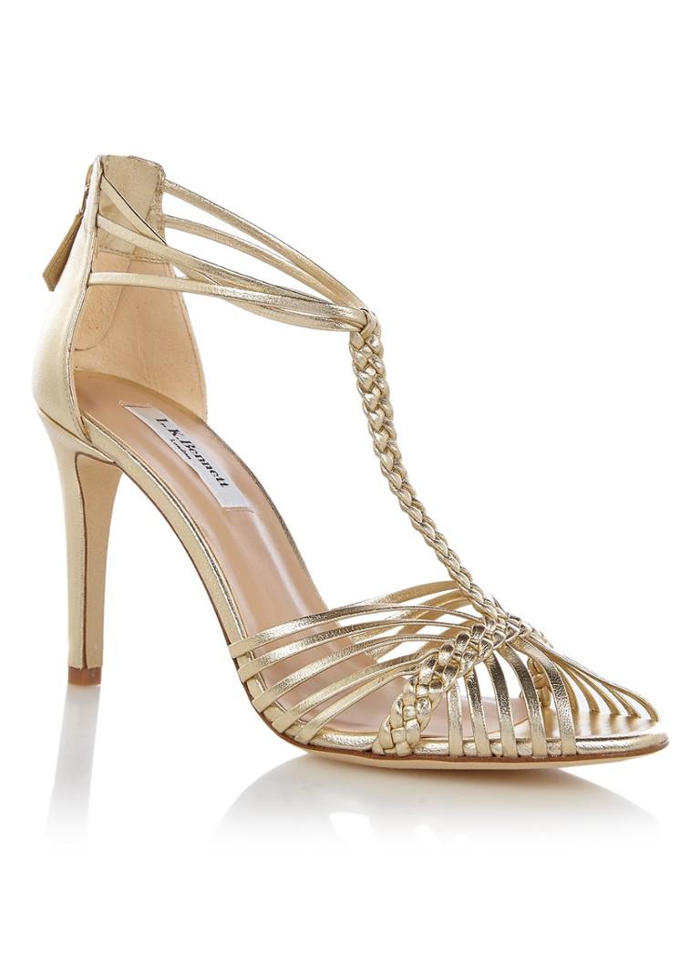 L K Bennett Dorothy sandalette van leer met metallic finish