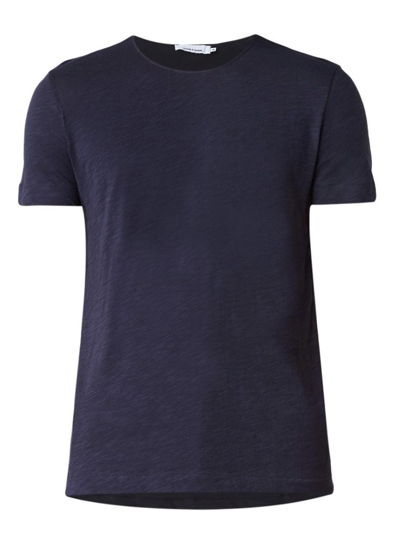 Samsøe  and  Samsøe T-shirt met ronde hals en subtiel gemêleerd dessin