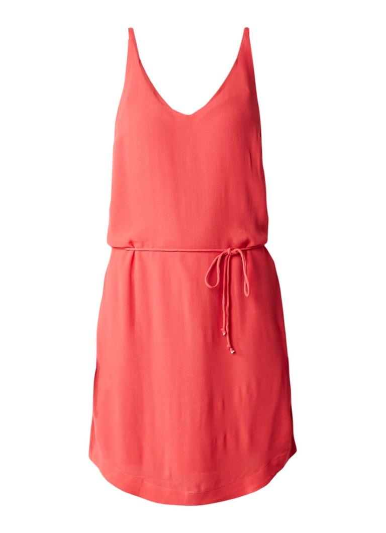 Gaastra Francy crêpe jurk met taillekoord koraalrood