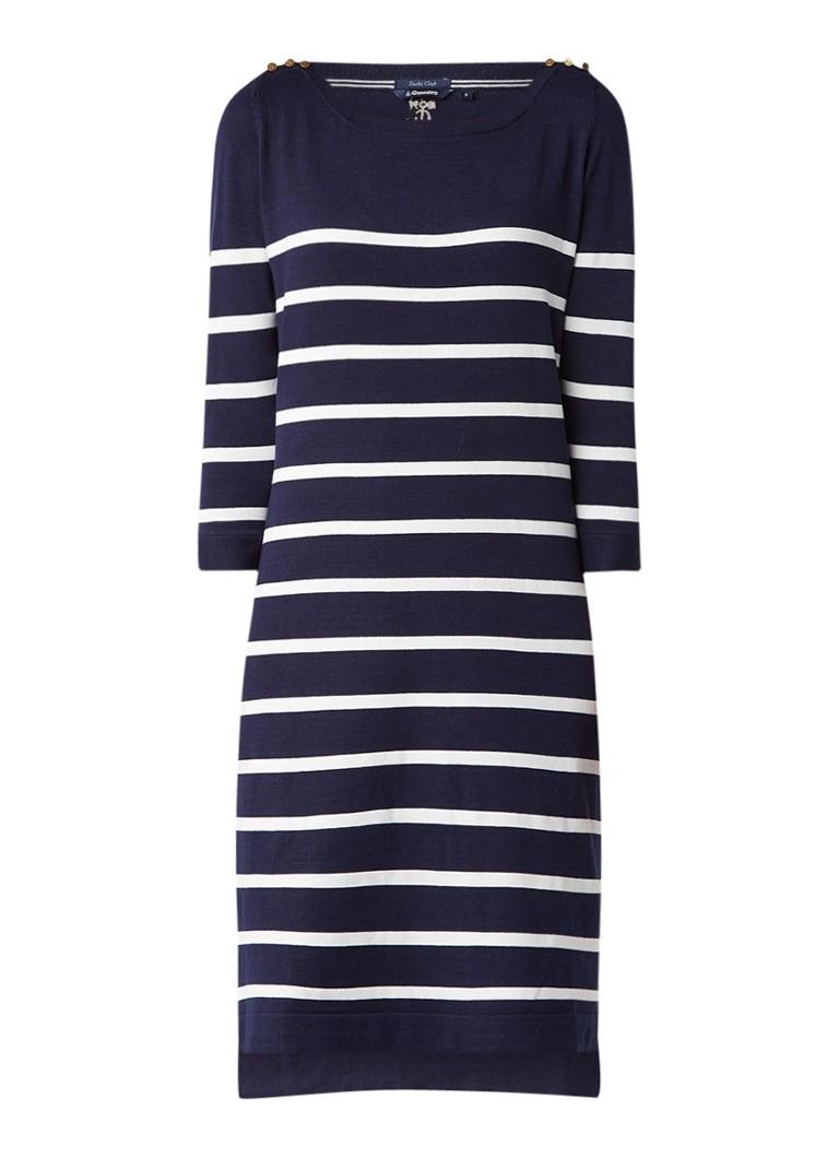 Gaastra Aile fijngebreide jurk in zijdeblend met streepdessin donkerblauw