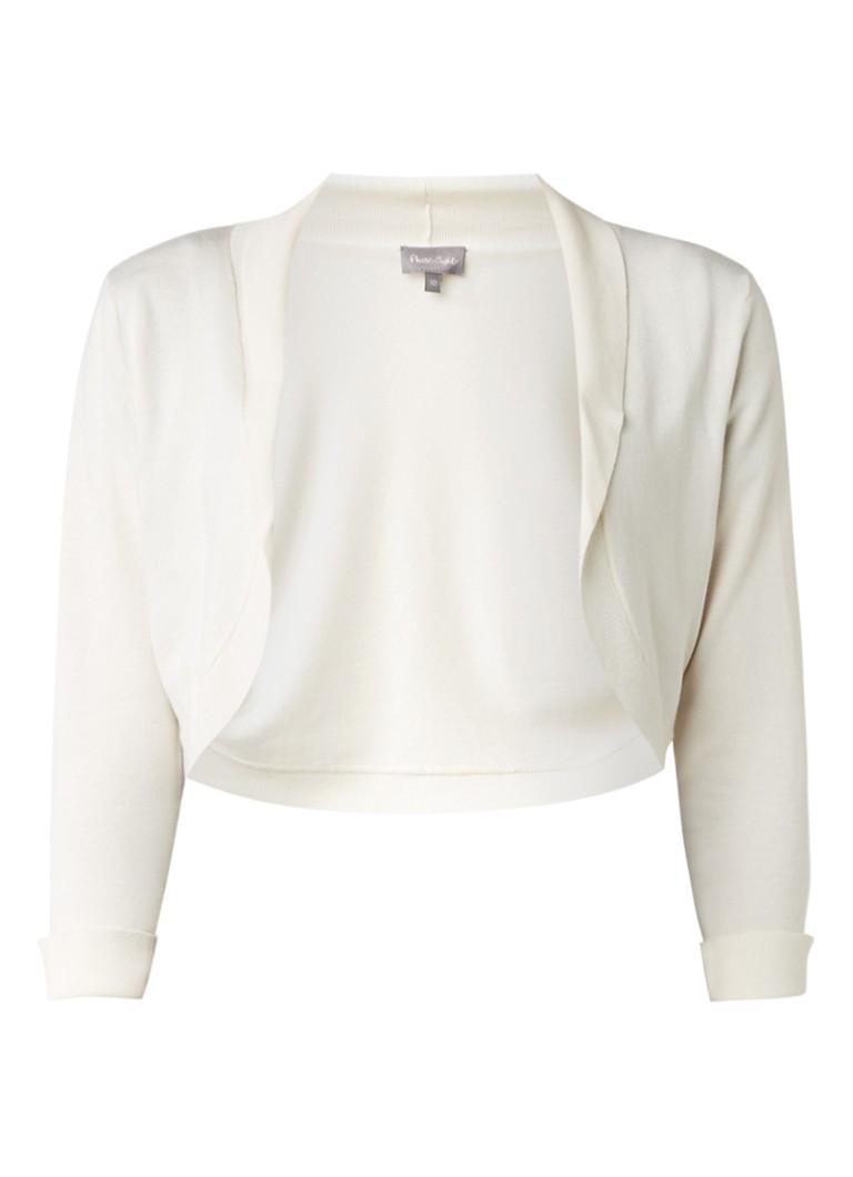 Phase Eight Fijngebreide bolero met sjaalkraag wit