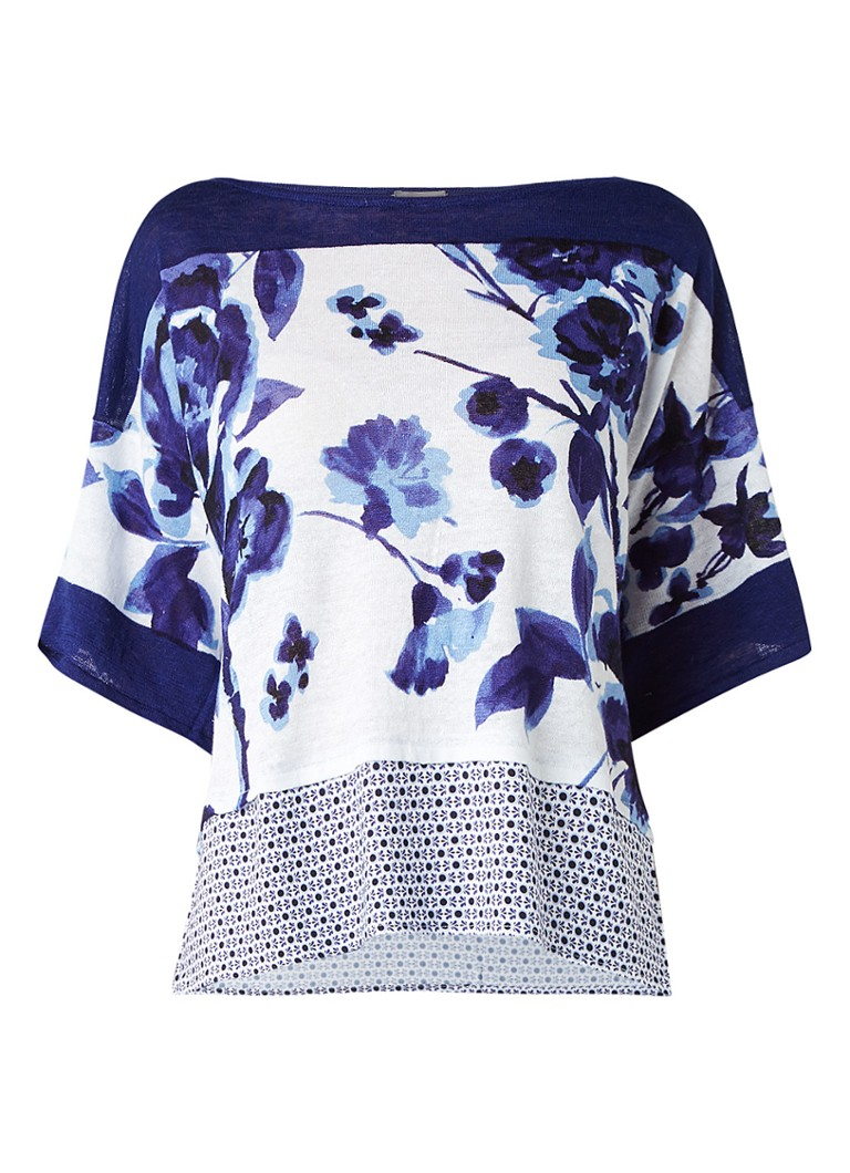 Phase Eight Mollie loose fit top met contrasterende stof wit