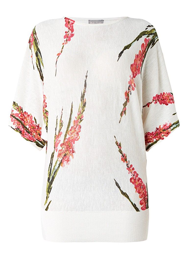 Phase Eight Lupin top in linnnenblend met bloemendessin wit