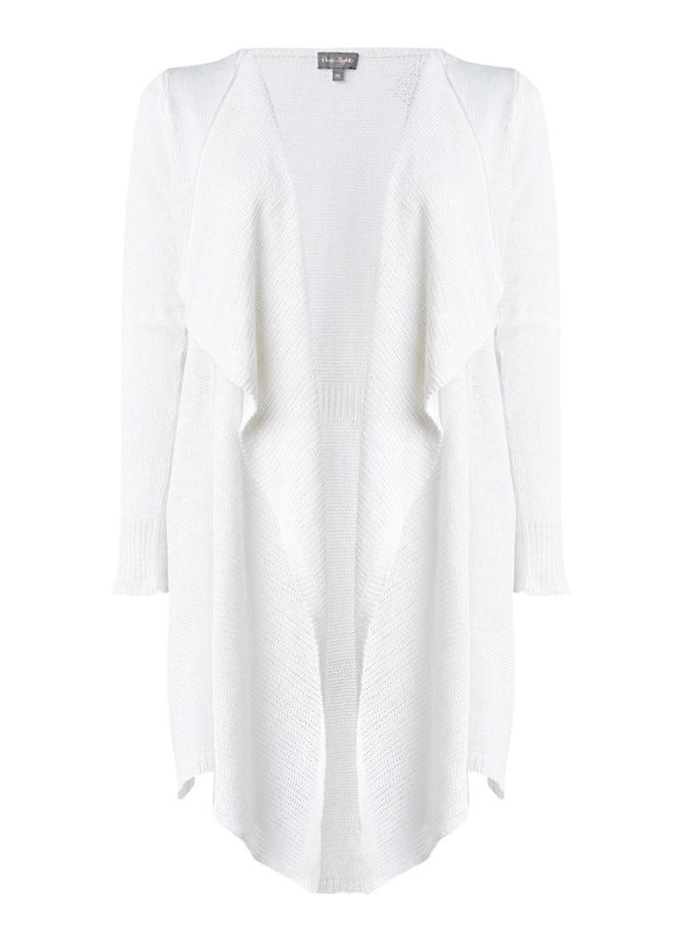 Phase Eight Luella fijngebreid vest van linnen met watervalhals wit