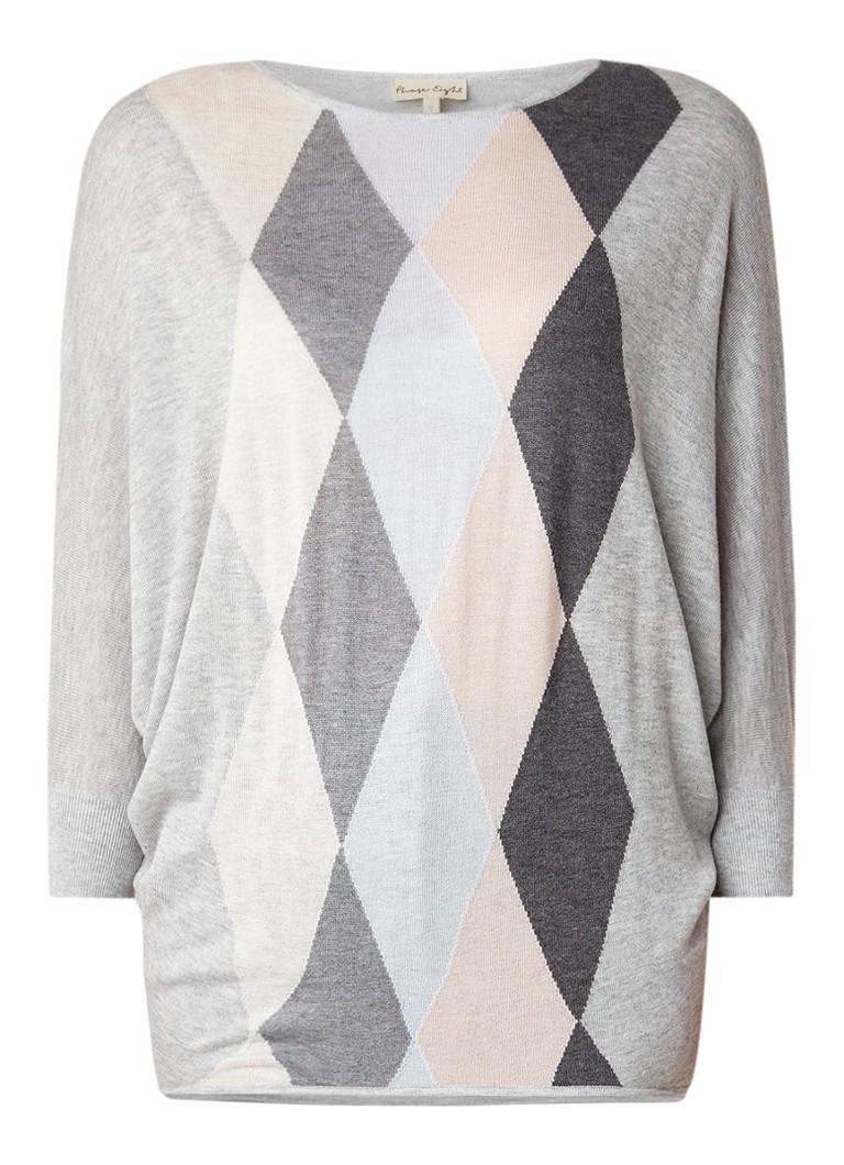 Phase Eight Alyssandra fijngebreide pullover met ruitdessin en vleermuismouw