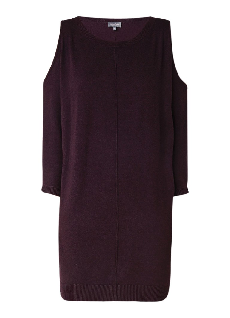 Phase Eight Callie cold shoulder fijngebreide jurk donkerrood