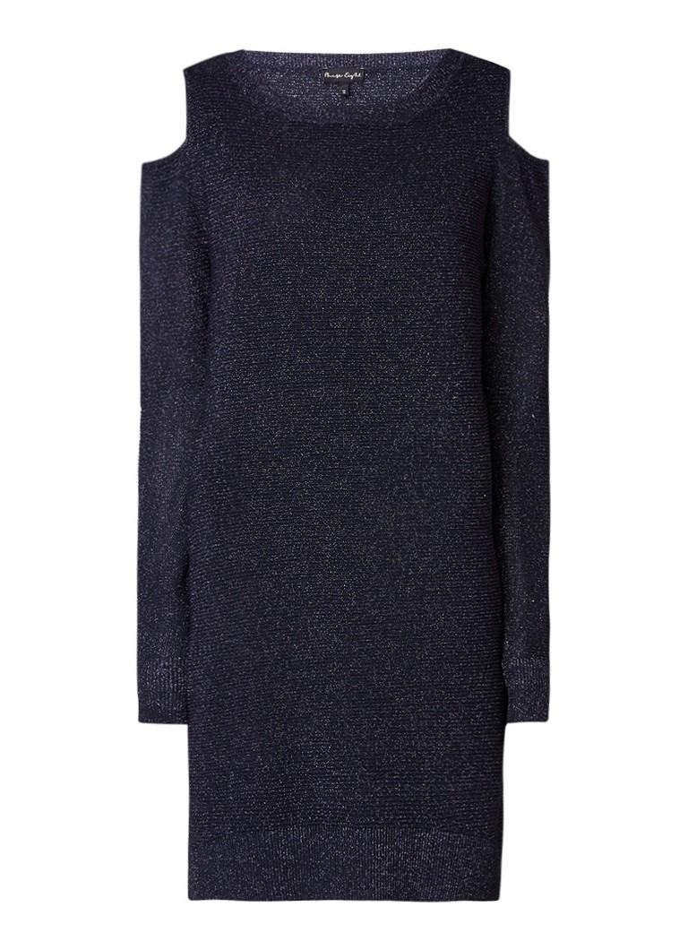 Phase Eight Romana Shimmer cold shoulder jurk met lurex donkerblauw