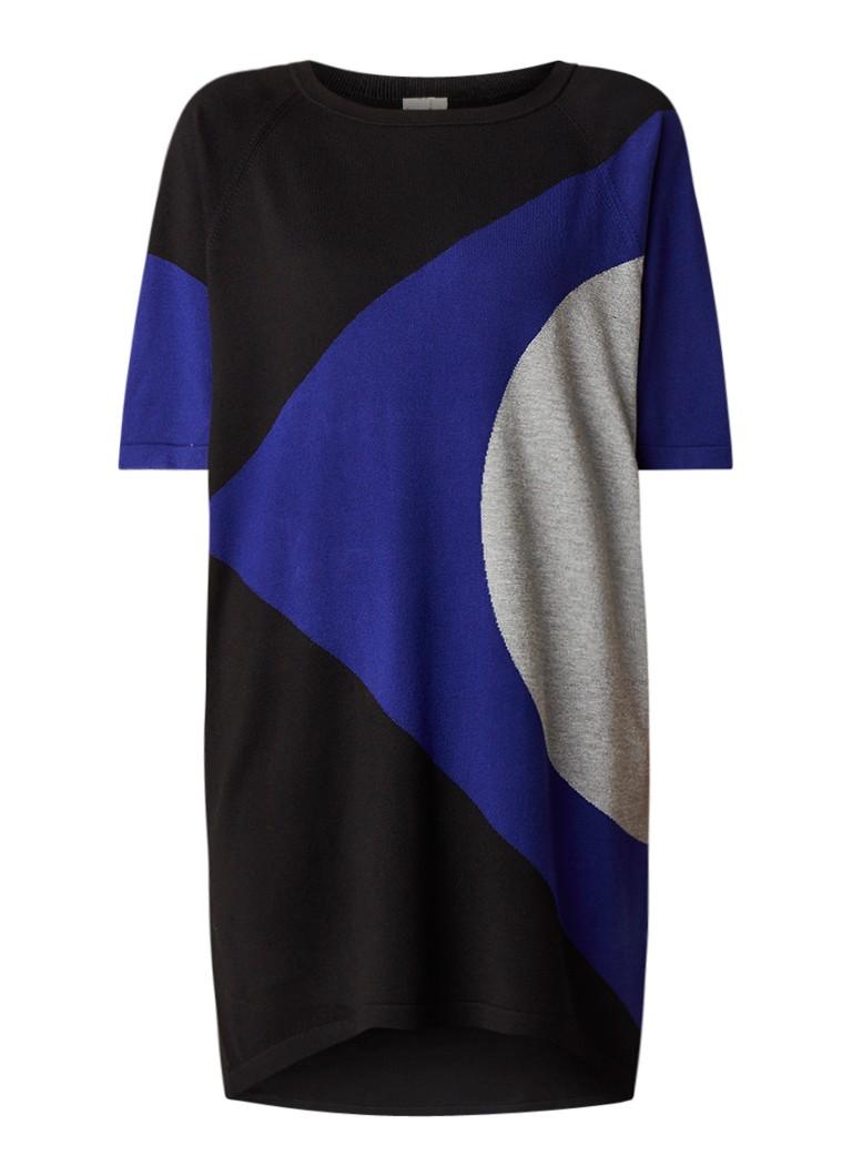 Phase Eight Alexa fijngebreide jurk met grafisch dessin kobaltblauw