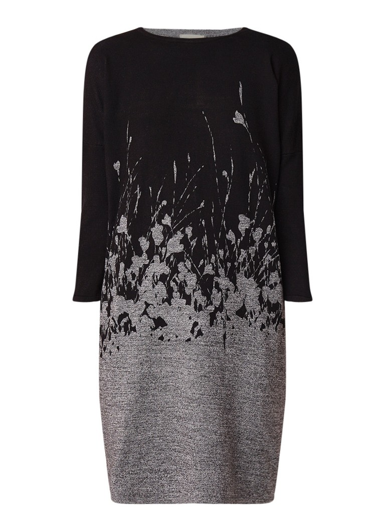 Phase Eight Fabian fijngebreide midi-jurk met abstract bloemendessin grijsmele