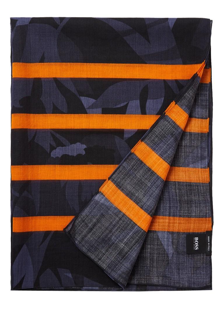 HUGO BOSS Acinos sjaal van wol met dessin 180 x 65 cm