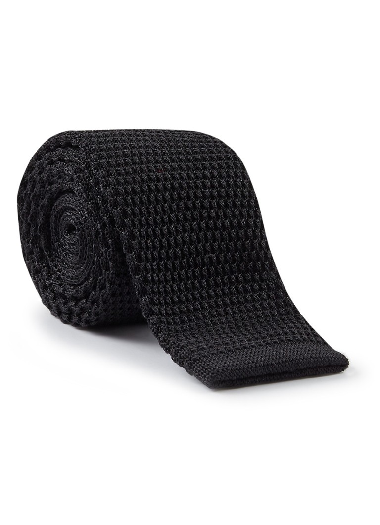 HUGO BOSS Fijngebreide stropdas van zijde