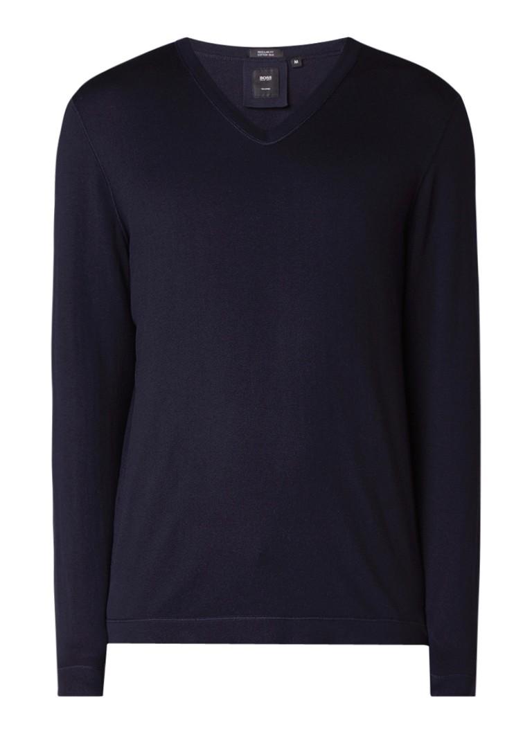 HUGO BOSS T-Devalli pullover in zijdeblend met V-hals