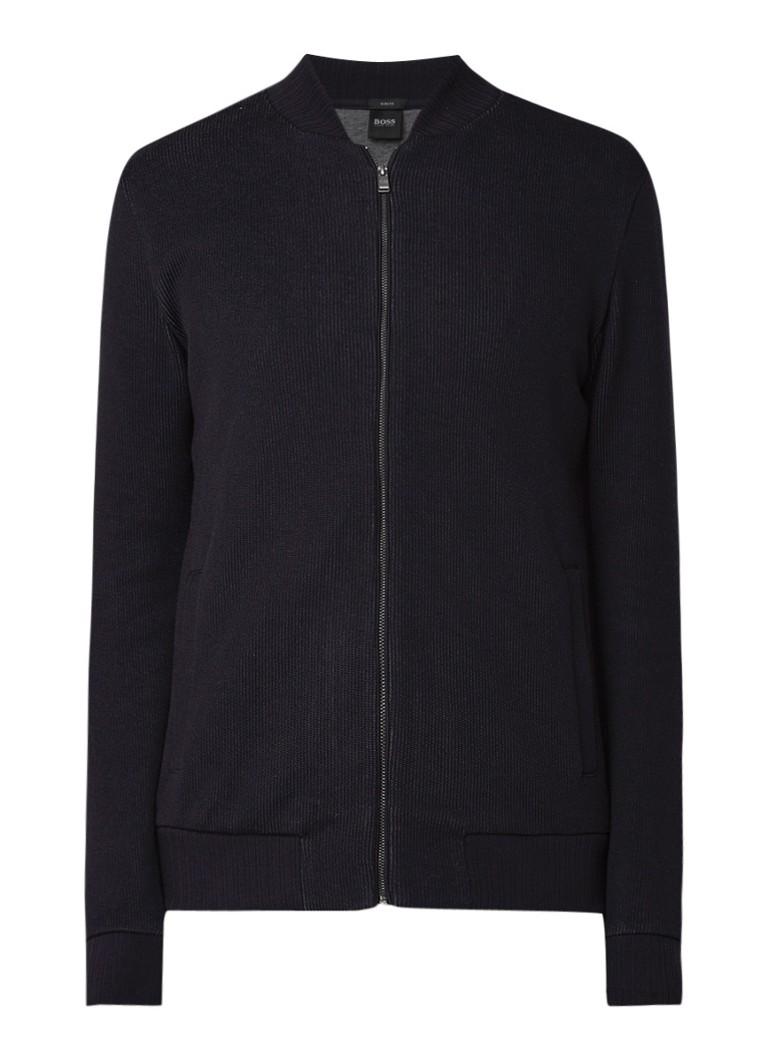 Image of HUGO BOSS Salea slim fit fijngebreid vest van katoen met rits