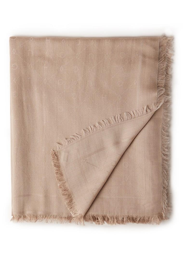 Image of HUGO BOSS Sjaal in wolblend met ingeweven logodessin 210 x 120 cm