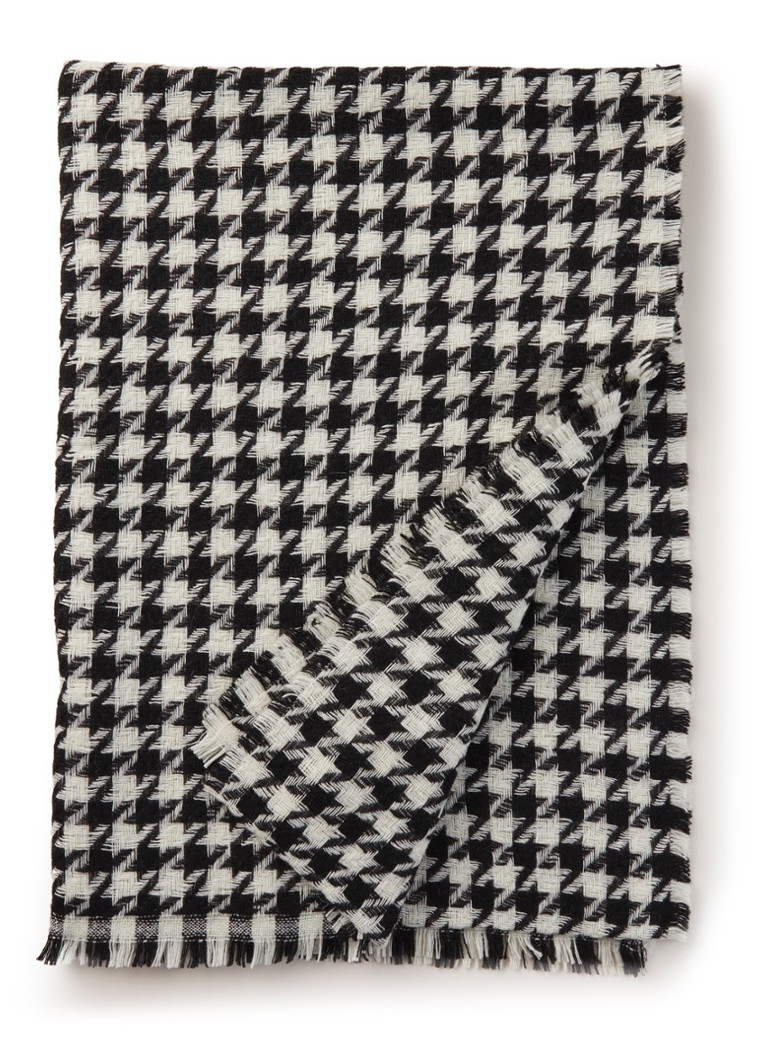 Image of HUGO BOSS Sjaal in wolblend met pied-de-poule dessin 200 x 70 cm