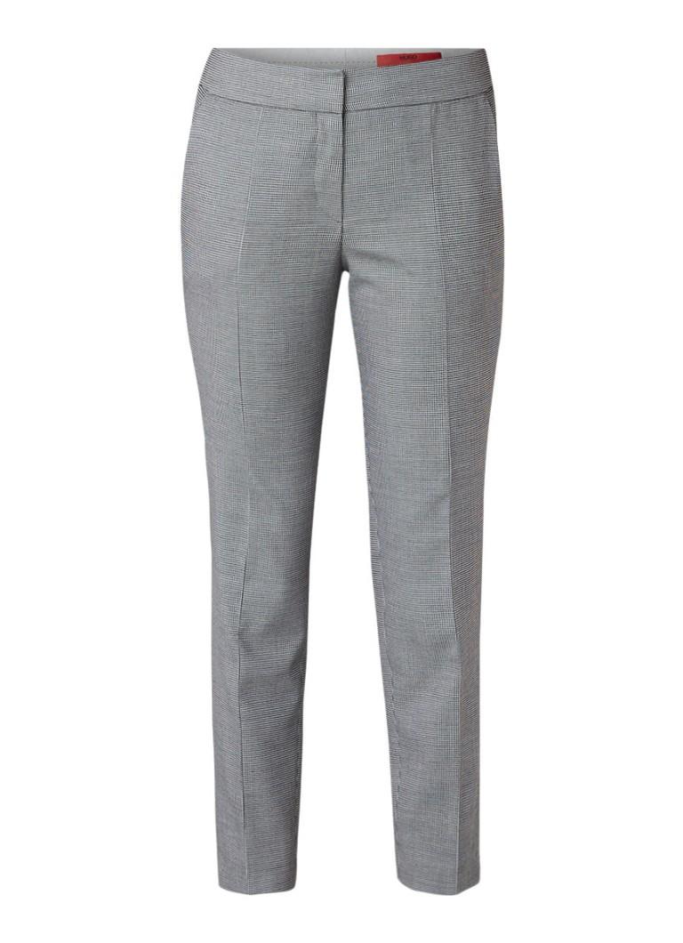 HUGO BOSS Hevas cropped skinny pantalon met pied-de-poule dessin