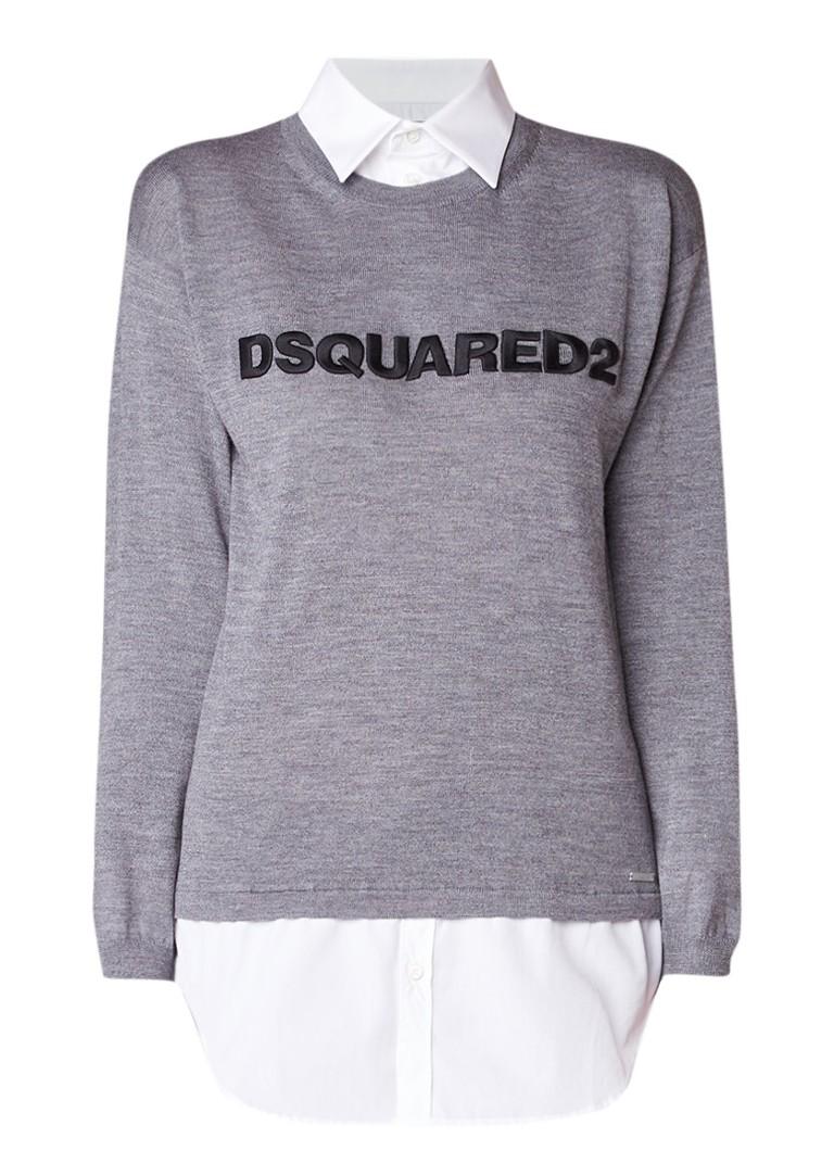 Dsquared2 Pullover van wol met blouseinzet en logo