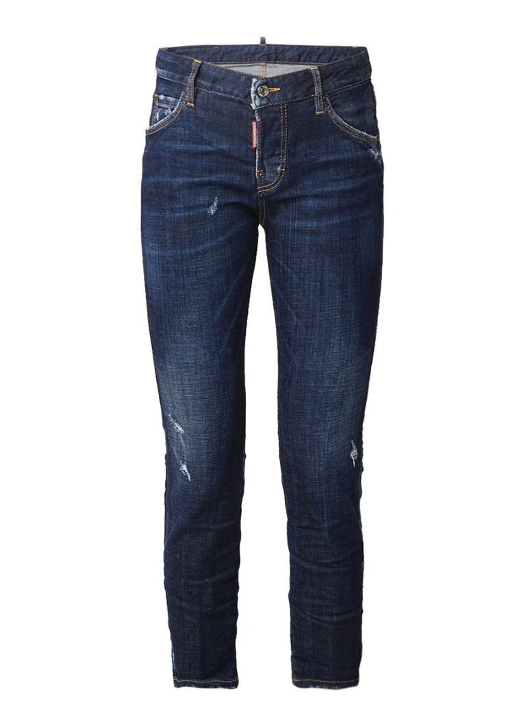 Dsquared2 Cool Girl cropped straight fit jeans met destroyed detail