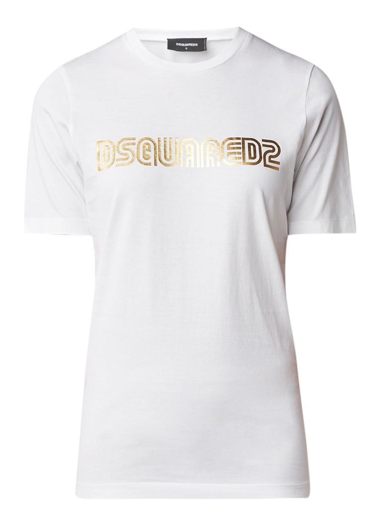 Dsquared2 Gold T-shirt met logoprint en metallic finish
