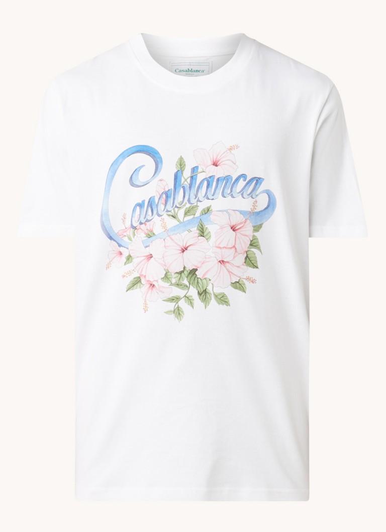 Casablanca Hibiscus T-shirt van biologisch katoen met frontprint