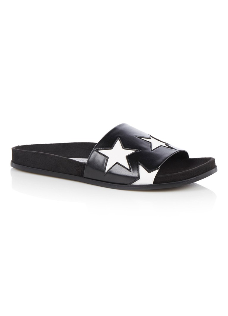 Stella McCartney Black  and  White Star slipper met sterrendessin