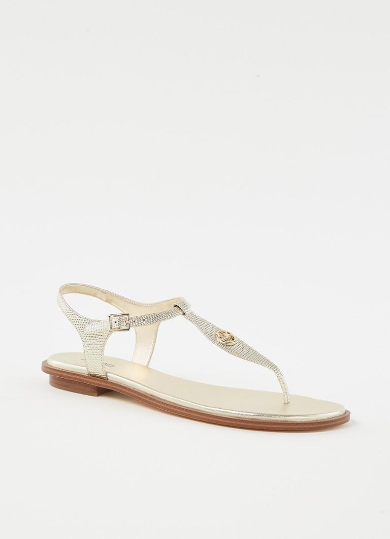 Michael Kors Mallory Thong leren sandalen goud online kopen