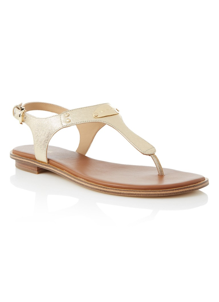 Michael Kors MK Plate teenslipper van leer in metallic